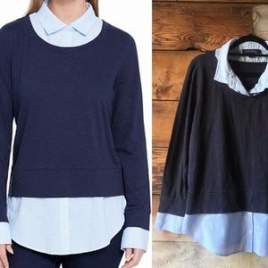 Tommy Hilfiger Layered Sweater Top Navy & Blue XL